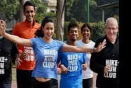 Actress Gul Panag takes part in a run after the launch of the Nike Run Club