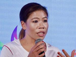 Mary Kom during the launch of Zeven sports brand in New Delhi