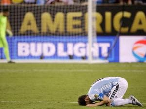 Argentina's Lionel Messi reacts after losing 4-2 to Chile in penalty kicks during the Copa America