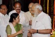 Prime Minister Narendra Modi talks to External Affairs Minister Sushma Swaraj