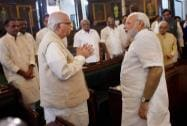 Prime Minister Narendra Modi with senior BJP leader LK Advani