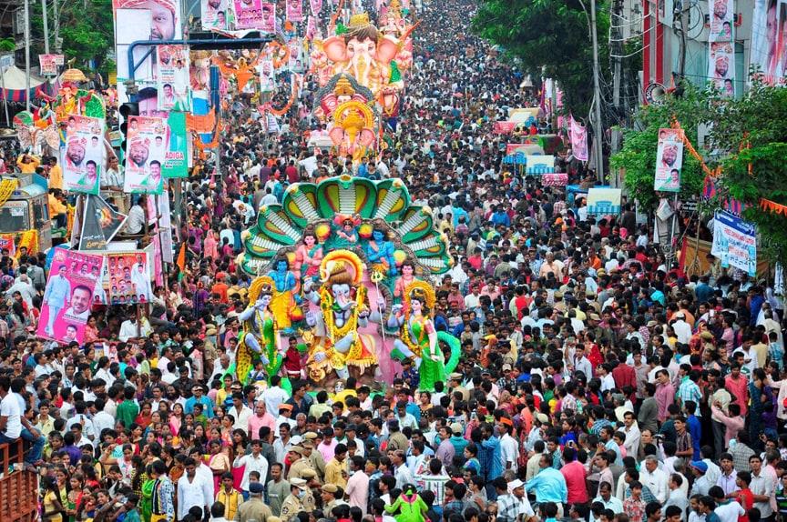 Devotees, participate, Ganesh Visarjan, procession,  Mozamjahi Market, Hyderabad