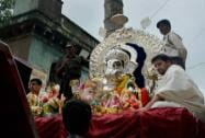 Devotees during a Ganapati immersion procession