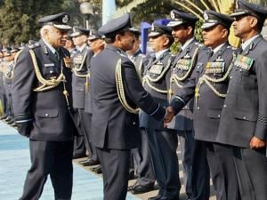 Air Chief Marshal Arup Raha  being introduced to Commanders of Western Air Command