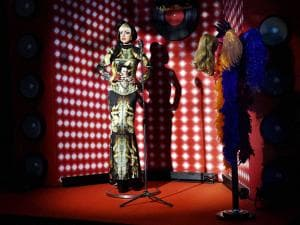 A wax statue of pop singer Lady Gaga on display ahead of the launch of Madame Tussauds Delhi