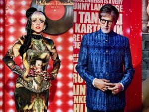 Wax statues of pop singer Lady Gaga, Amitabh Bachchan on display at an event in New Delhi