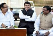 Maharashtra CM Devendra Fadnavis with State Finance Minister Sudhir Mungantiwar