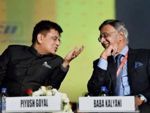 Piyush Goyal and Baba Kalyani, Chairman of Bharat Forge at the Maharashtra Investment Seminar