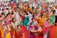 Devotees of Digambar Jain community take part in a religious programme to celebrate 'Mahavir Jayanti'