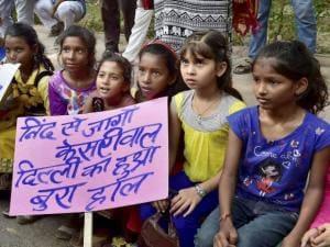 Children join Mahila Congress protest against recent rape cases