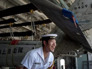 A Japanese sailor on-board JS Sazanami which has arrived at Port Trust to take part.jpg
