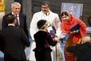 Malala greets Queen Sonja of Norway