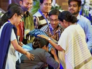 Students seek blessings of West Bengal Chief Minister Mamata Banerjee