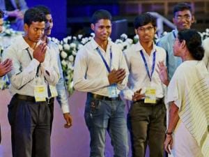 West Bengal Chief Minister Mamata Banerjee interacts with the students during inauguration of Utkarsh Bangla 2016 in Kolkata