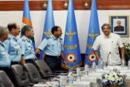 Manohar Parrikar and Arup Raha at The Air Force Commanders Conference