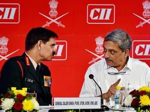 Defense Minister Manohar Parrikar and Chief of Army staff, General Dalbir Singh speak to each other