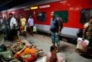 Stranded passengers of Sealdah Rajdhani Express at Gaya railway station  after Maoists blew off tracks  between Ismailpur and Rafiganj late