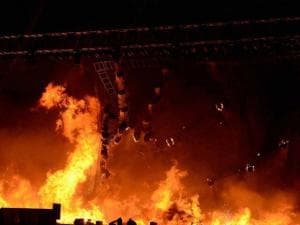 A massive fire broke out on Stage during a cultural event at the Make In India week in Mumbai 01