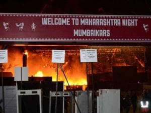 A massive fire broke out on Stage during a cultural event at the Make In India week in Mumbai 03