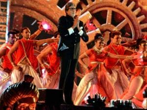 Megastar Amitabh Bachchan perform at a cultural event during the Make In India week in Mumbai