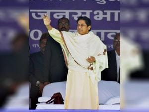 BSP supremo Mayawati waves at the crowd during an election rally