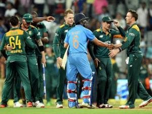 South African players celebrate the victroy against India