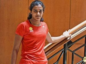 Badminton player P V Sindhu poses for a photo after a media interaction in Mumbai (2)