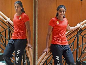 Badminton player P V Sindhu poses for a photo after a media interaction in Mumbai (3)