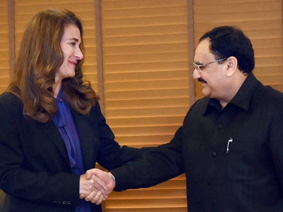 Health Minister of India, J.P. Nadda, Melinda Gates, Microsoft Chairman, CEO, Bill Gates