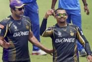 KKR player Sunil Narine and bowling coach Wasim Akram