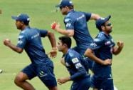 Mumbai Indians players during a training session at Eden Garden