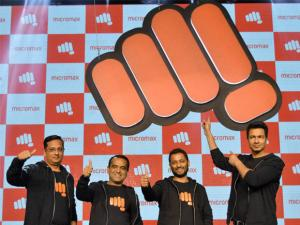 Sumeet Kumar, Rajesh Agarwal, Vikas Jain & Rahul Sharma, co-founders of Micromax unveil the new logo in Gurgaon.