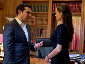Greek Prime Minister Alexis Tsipras welcomes U.S. actress Angelina Jolie during their meeting in Athens