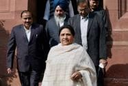 BSP supremo and former Uttar Pradesh Chief Minister Mayawati at Parliament House