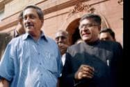 Union Defence Minister Manohar Parrikar with Union IT Minister Ravi Shankar Prasad at Parliament House