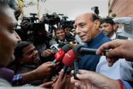 Union Home Minister Rajnath Singh addressing mediapersons