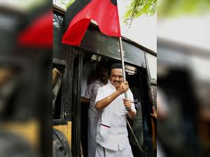MK stalin protesting with party workers