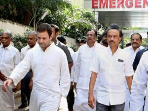 Rahul Gandhi and  Stalin leave kauvery hospital after visiting dmk party chief 92 year old karunanidhi