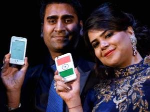 Dhaarna Goel during the launch of Smartphone-Ringing Bells Freedom 251