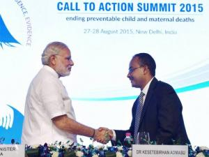Prime Minister Narendra Modi shakes hands with Ethiopian Health Minister Kesetebirhan Admasu