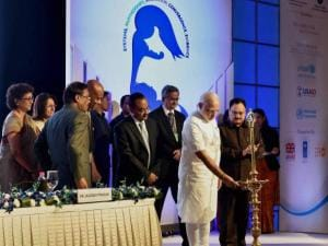 Prime Minister Narendra Modi with Union Health Minister JP Nadda