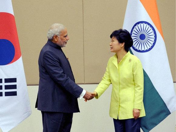 Park Geun-Hye, Modi, India, ASEAN, South Korea