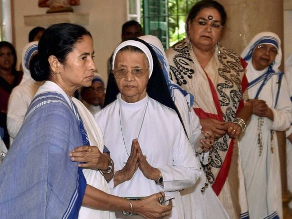 West Bengal Chief Minister, Mamata Banerjee, Nirmala, Mother Teresa, Church, Kolkata.
