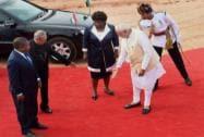 Pranab Mukherjee and Narendra Modi with Mozambique President Filipe Jacinto Nyusi
