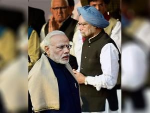 Prime Minister Narendra Modi with Former Prime Minister Manmohan Singh on the occasion of Bhimrao Ambedkar's  'Mahaparinirvan Diwas'