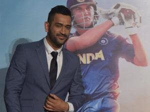 Cricketer MS Dhoni pose for media during the trailer launch