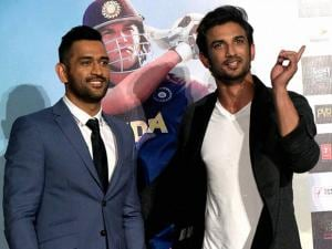MS Dhoni and actor Sushant Singh  during the trailer launch of film 'MS Dhoni — The Untold Story'
