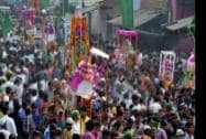 Muslims participate in a procession on the ocassion of Muharram in Agra