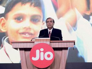 Reliance Industries Limited Chairman Mukesh Ambani speaks during a press briefing of Reliance Jio