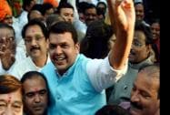 BJP leader Devendra Fadnavis celebrate with supporters after party's victory